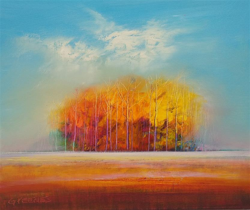 Original art for sale at UGallery.com | Hints of Fall by George Peebles | $550 | oil painting | 20' h x 24' w | ..\art\oil-painting-Hints-of-Fall