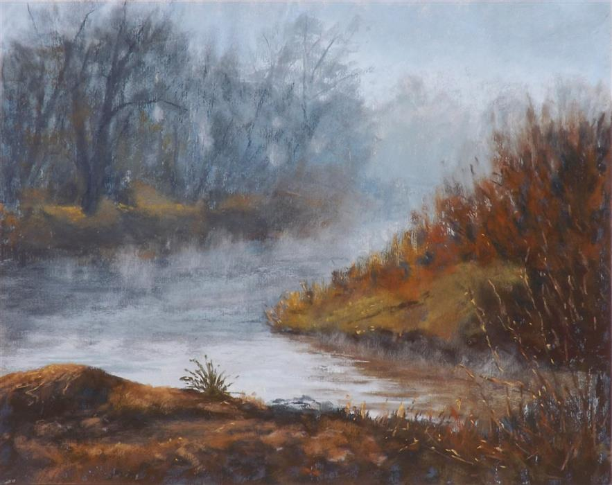Original art for sale at UGallery.com | The Quiet of the River Fog by Patricia Prendergast | $475 | pastel artwork | 11' h x 14' w | ..\art\pastel-artwork-The-Quiet-of-the-River-Fog