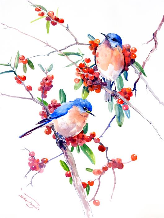 Original art for sale at UGallery.com | Bluebirds and Berries, Vertical Composition by Suren Nersisyan | $400 | watercolor painting | 24' h x 18' w | ..\art\watercolor-painting-Bluebirds-and-Berries-Vertical-Composition