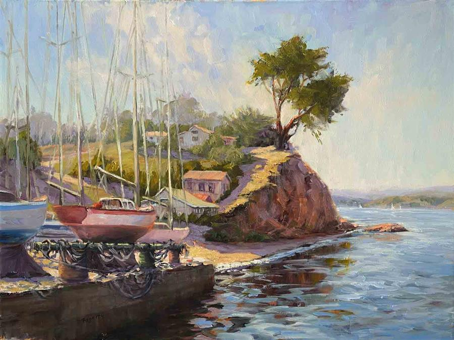 Original art for sale at UGallery.com | Bay View by Tatyana Fogarty | $1,700 | oil painting | 18' h x 24' w | ..\art\oil-painting-Bay-View-66737