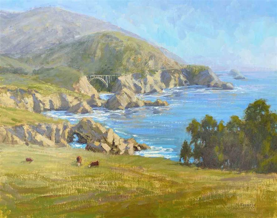 Original art for sale at UGallery.com   Coastal Pastures by Tatyana Fogarty   $1,550   oil painting   16' h x 20' w   ..\art\oil-painting-Coastal-Pastures