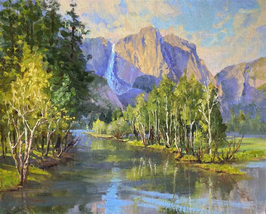 Original art for sale at UGallery.com   Yosemite Falls by Tatyana Fogarty   $1,600   oil painting   16' h x 20' w   ..\art\oil-painting-Yosemite-Falls
