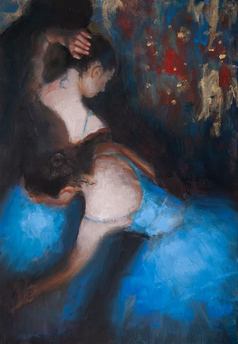 Original art for sale at UGallery.com | Blue Dancers by John Kelly | $2,300 | oil painting | 21.5' h x 14.75' w | ..\art\oil-painting-Blue-Dancers