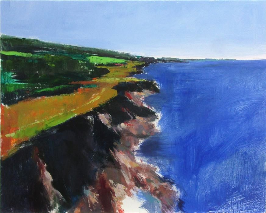Original art for sale at UGallery.com | Nova Scotia Coast by Janet Dyer | $1,625 | acrylic painting | 24' h x 30' w | ..\art\acrylic-painting-Nova-Scotia-Coast