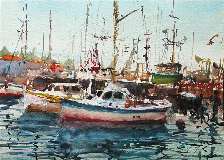 Original art for sale at UGallery.com | San Francisco Boats by Maximilian Damico | $550 | watercolor painting | 8' h x 11' w | ..\art\watercolor-painting-San-Francisco-Boats