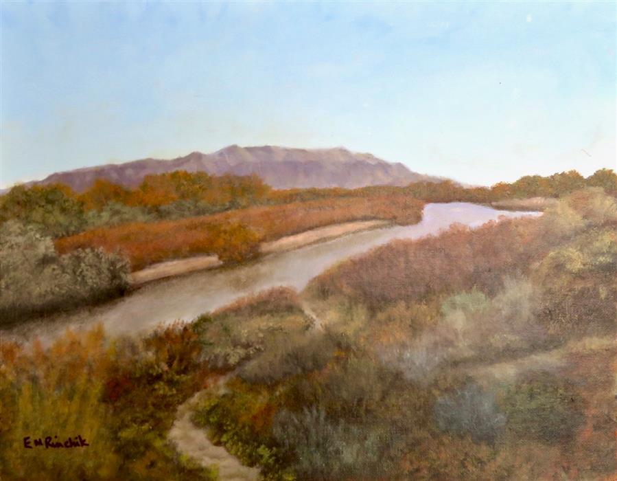 Original art for sale at UGallery.com | Autumn along the Rio Grande Near Kuaua by Eugene Rinchik | $450 | acrylic painting | 11' h x 14' w | ..\art\acrylic-painting-Autumn-along-the-Rio-Grande-Near-Kuaua