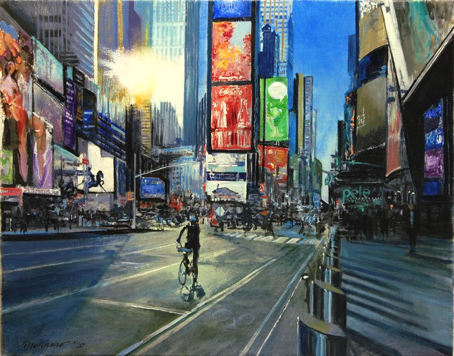 Original art for sale at UGallery.com | Light Fading over Times Square by Onelio Marrero | $900 | oil painting | 14' h x 18' w | ..\art\oil-painting-Light-Fading-over-Times-Square