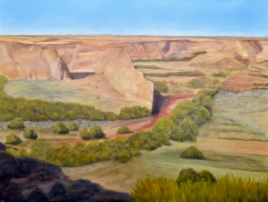 Original art for sale at UGallery.com | Sunlight in Canyon de Chelly by EUGENE RINCHIK | $675 |  | 18' h x 24' w | ..\art\oil-painting-Sunlight-in-Canyon-de-Chelly