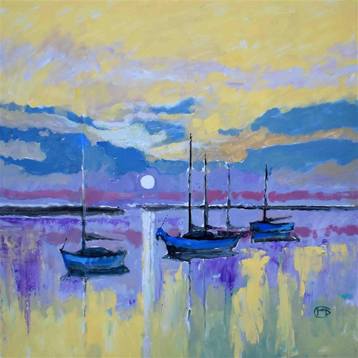 Original art for sale at UGallery.com | Across the Bay by Kip Decker | $2,800 | acrylic painting | 36' h x 36' w | ..\art\acrylic-painting-Across-the-Bay-66829