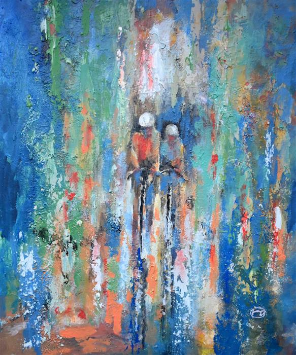 Original art for sale at UGallery.com | Cycling by Kip Decker | $2,400 | acrylic painting | 36' h x 30' w | ..\art\acrylic-painting-Cycling