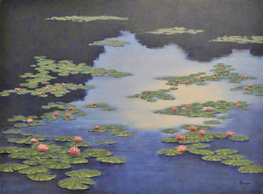 Original art for sale at UGallery.com | Water Lilies by Robert Pennor | $1,975 | acrylic painting | 30' h x 40' w | ..\art\acrylic-painting-Water-Lilies-66835