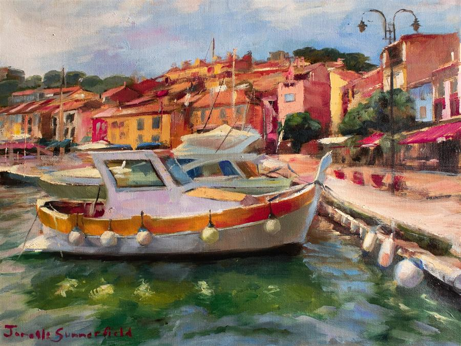 Original art for sale at UGallery.com | Boat in Cassis by Jonelle Summerfield | $675 | oil painting | 12' h x 16' w | ..\art\oil-painting-Boat-in-Cassis