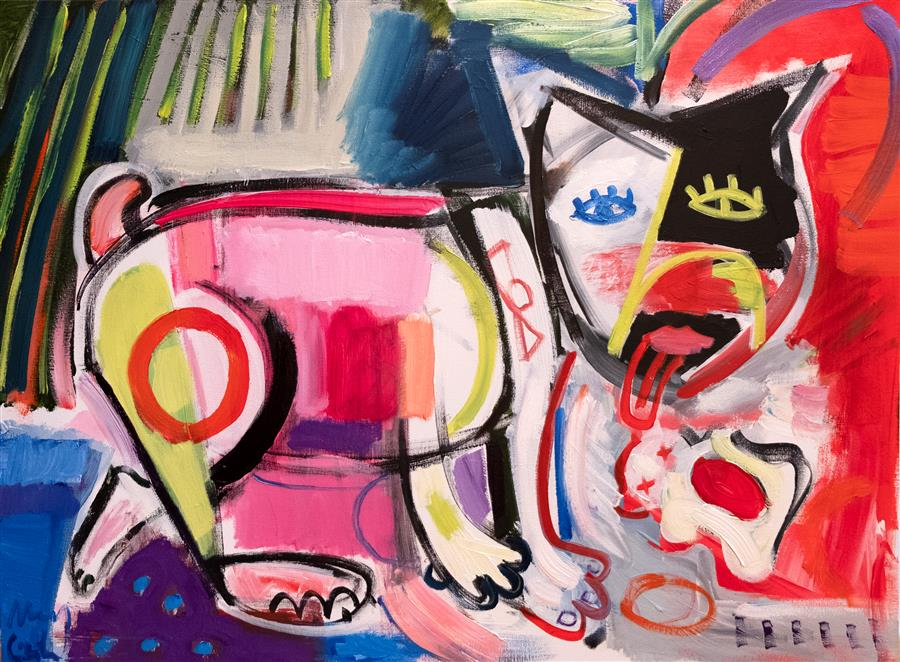 Original art for sale at UGallery.com | French Bulldog, Semi-Abstract Composition by Maciej Ciesla | $2,000 | oil painting | 23' h x 31' w | ..\art\oil-painting-French-Bulldog-Semi-Abstract-Composition