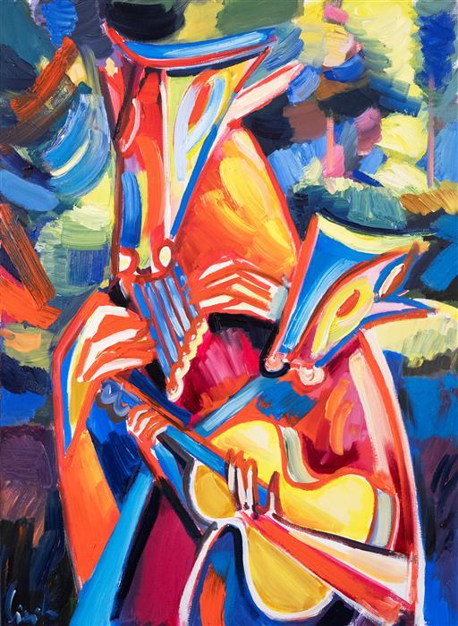 Original art for sale at UGallery.com | Faun Musicians by Maciej Ciesla | $2,300 | oil painting | 31' h x 23' w | ..\art\oil-painting-Faun-Musicians
