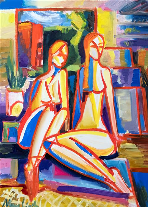 Original art for sale at UGallery.com | Two Girls in Studio by Maciej Ciesla | $1,800 | oil painting | 31' h x 23' w | ..\art\oil-painting-Two-Girls-in-Studio