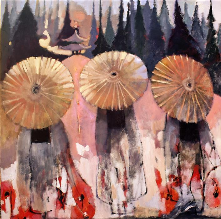 Original art for sale at UGallery.com | Forest Geishas by Mary Pratt | $4,400 | oil painting | 48' h x 48' w | ..\art\oil-painting-Forest-Geishas