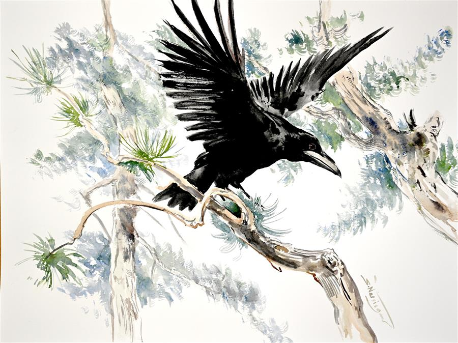 Original art for sale at UGallery.com | Flying Raven in the Woods by Suren Nersisyan | $500 | watercolor painting | 18' h x 24' w | ..\art\watercolor-painting-Flying-Raven-in-the-Woods