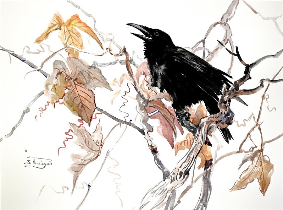 Original art for sale at UGallery.com | The Song of the Raven, Old Grape Vine by Suren Nersisyan | $400 | watercolor painting | 18' h x 24' w | ..\art\watercolor-painting-The-Song-of-the-Raven-Old-Grape-Vine