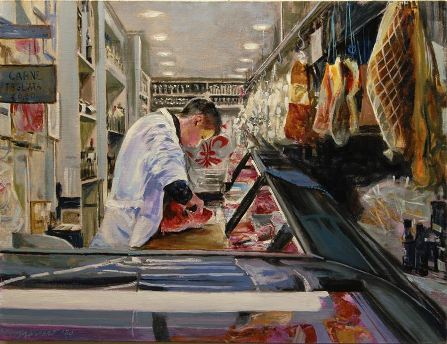 Original art for sale at UGallery.com | Carne Tagliata by Onelio Marrero | $1,125 | oil painting | 18' h x 24' w | ..\art\oil-painting-Carne-Tagliata