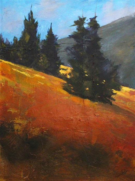 Original art for sale at UGallery.com | Golden Hillside by Nancy Merkle | $750 | acrylic painting | 24' h x 18' w | ..\art\acrylic-painting-Golden-Hillside