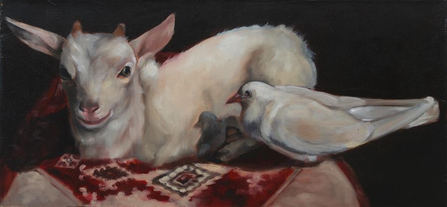 Original art for sale at UGallery.com | Peaceable Kingdom by Dana Aldis | $500 | oil painting | 10' h x 20' w | ..\art\oil-painting-Peaceable-Kingdom