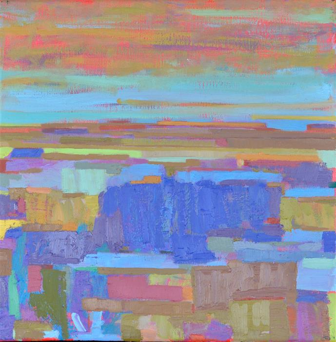 Original art for sale at UGallery.com | The Blue Fields and the Horizon by Srinivas Kathoju | $425 | oil painting | 12' h x 12' w | ..\art\oil-painting-The-Blue-Fields-and-the-Horizon