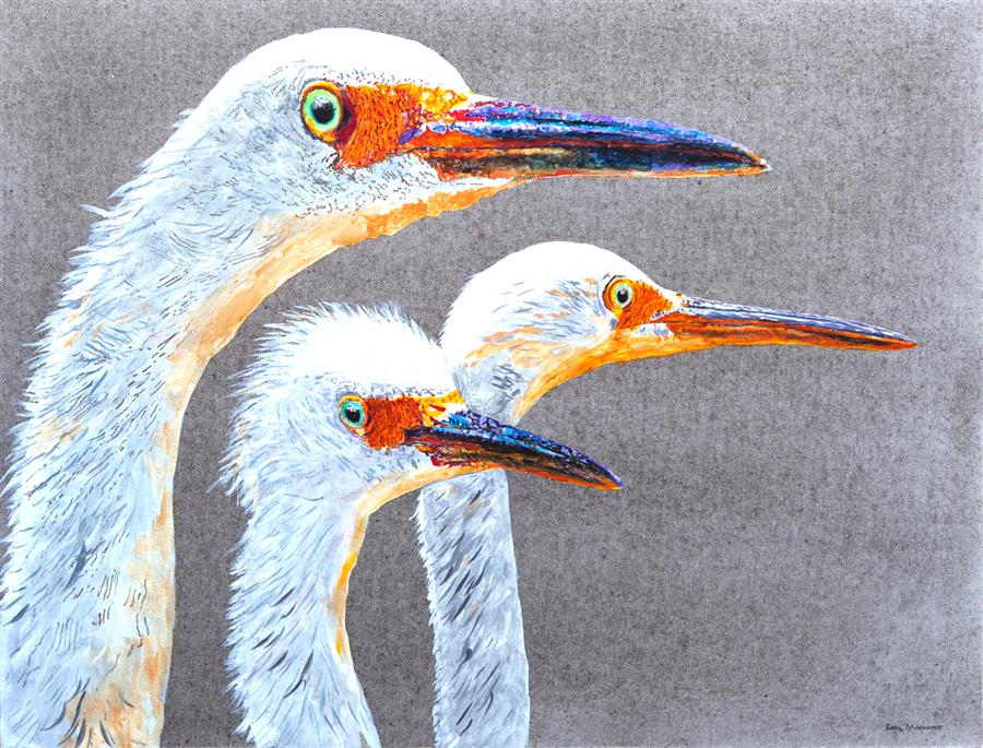 Original art for sale at UGallery.com | Do Egrets Have Regrets? by Emil Morhardt | $1,675 | acrylic painting | 24' h x 36' w | ..\art\acrylic-painting-Do-Egrets-Have-Regrets