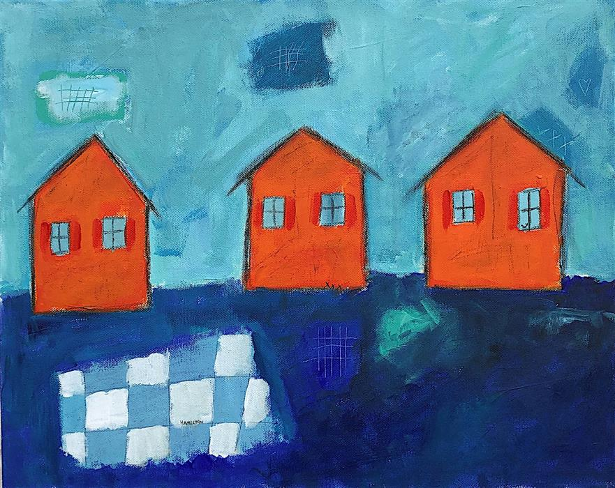 Original art for sale at UGallery.com | Night Cottages by Rick Hamilton | $600 | acrylic painting | 16' h x 20' w | ..\art\acrylic-painting-Night-Cottages