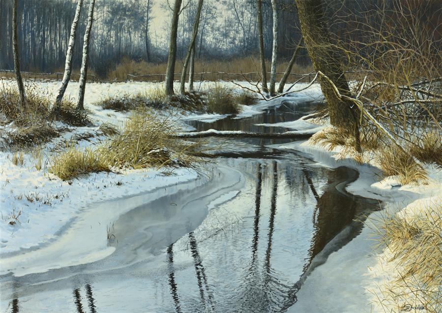 Original art for sale at UGallery.com | First Thaw by Dariusz Choinski | $2,700 | oil painting | 20' h x 28' w | ..\art\oil-painting-First-Thaw