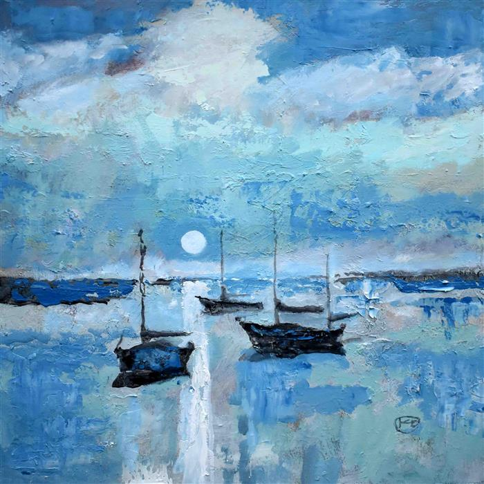 Original art for sale at UGallery.com | Harbor Moon Light by Kip Decker | $2,200 | acrylic painting | 30' h x 30' w | ..\art\acrylic-painting-Harbor-Moon-Light