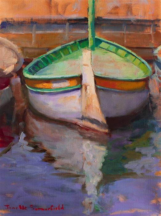 Original art for sale at UGallery.com | Boat in Cassis II by Jonelle Summerfield | $475 | oil painting | 16' h x 12' w | ..\art\oil-painting-Boat-in-Cassis-II