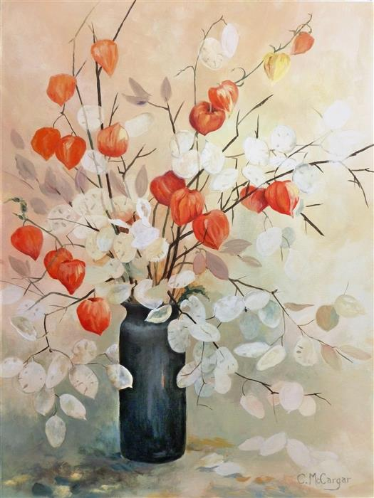 Original art for sale at UGallery.com | Chinese Lanterns and Lunaria by Catherine McCargar | $1,350 | acrylic painting | 24' h x 18' w | ..\art\acrylic-painting-Chinese-Lanterns-and-Lunaria