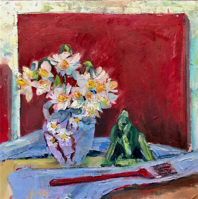 Original art for sale at UGallery.com | Still Life with Daffodils by James Hartman | $1,025 | oil painting | 22.5' h x 22.5' w | ..\art\oil-painting-Still-Life-with-Daffodils