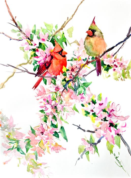 Original art for sale at UGallery.com | Cardinals and Cherry Blossom by Suren Nersisyan | $400 | watercolor painting | 24' h x 18' w | ..\art\watercolor-painting-Cardinals-and-Cherry-Blossom