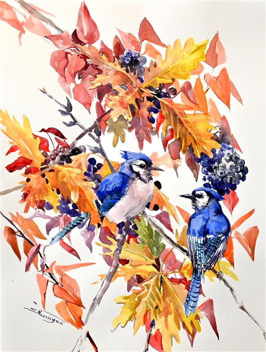 Original art for sale at UGallery.com | Blue Jays in the Fall by Suren Nersisyan | $500 | watercolor painting | 24' h x 18' w | ..\art\watercolor-painting-Blue-Jays-in-the-Fall