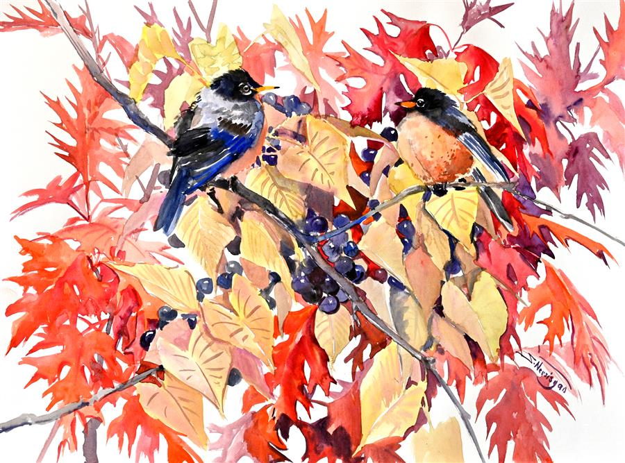 Original art for sale at UGallery.com | American Robins and Fall Foliage by Suren Nersisyan | $500 | watercolor painting | 18' h x 24' w | ..\art\watercolor-painting-American-Robins-and-Fall-Foliage