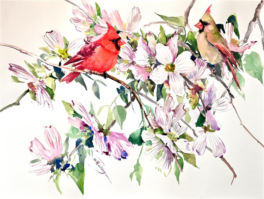Original art for sale at UGallery.com | Cardinals and Dogwood by Suren Nersisyan | $400 | watercolor painting | 18' h x 24' w | ..\art\watercolor-painting-Cardinals-and-Dogwood