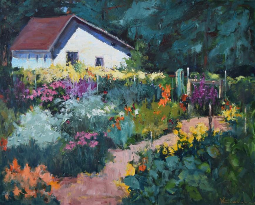 Original art for sale at UGallery.com | The Sisters' Garden by Mickey Cunningham | $1,325 | oil painting | 24' h x 30' w | ..\art\oil-painting-The-Sisters-Garden