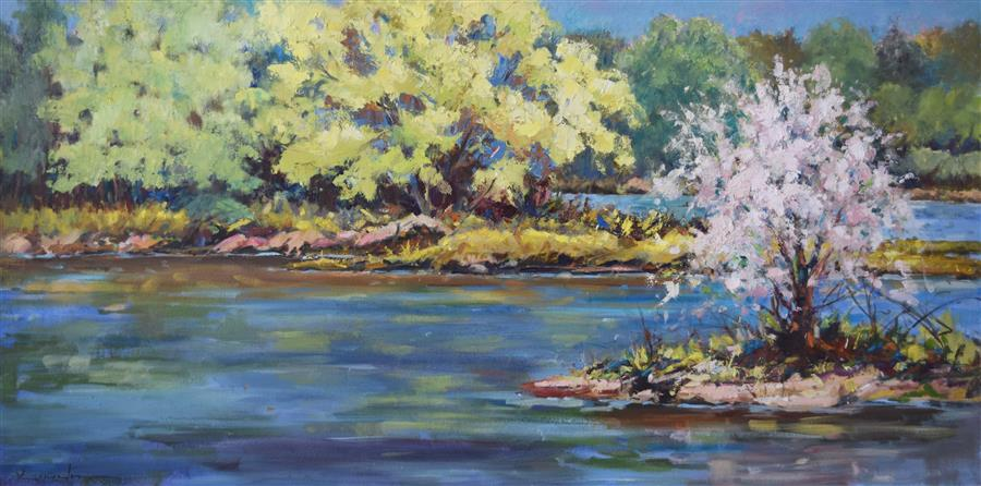 Original art for sale at UGallery.com | Spring on the Mississippi by Mickey Cunningham | $1,975 | oil painting | 20' h x 40' w | ..\art\oil-painting-Spring-on-the-Mississippi
