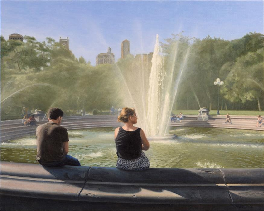 Original art for sale at UGallery.com | Washington Square Fountain by Nick Savides | $2,100 | oil painting | 16' h x 20' w | ..\art\oil-painting-Washington-Square-Fountain