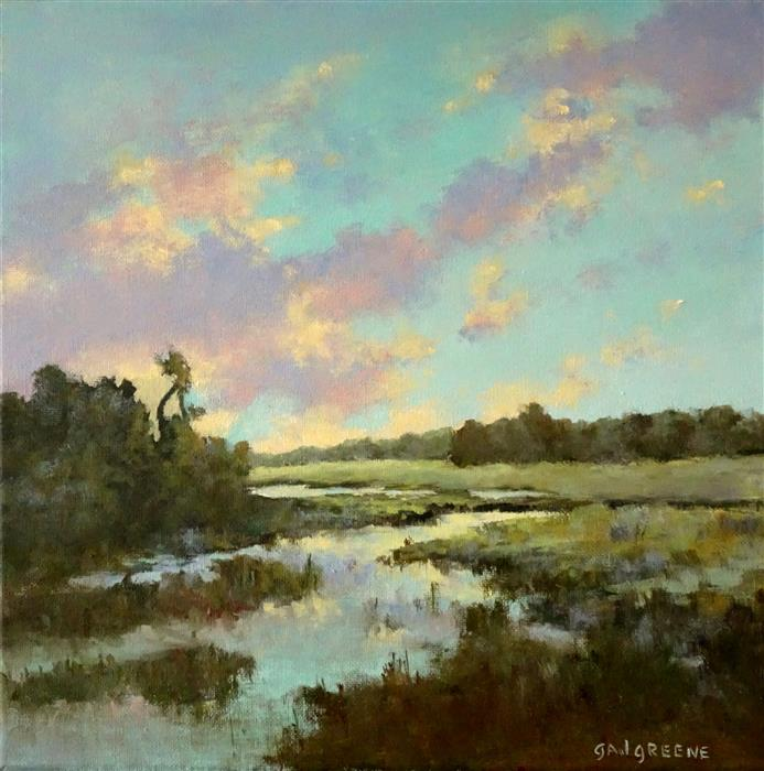 Original art for sale at UGallery.com | Southern Marsh by Gail Greene | $350 | oil painting | 12' h x 12' w | ..\art\oil-painting-Southern-Marsh