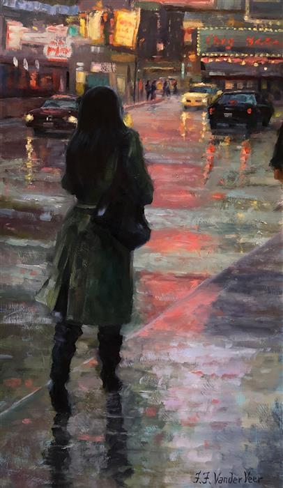 Original art for sale at UGallery.com | November Rain by Faye Vander Veer | $1,300 | oil painting | 24' h x 12' w | ..\art\oil-painting-November-Rain