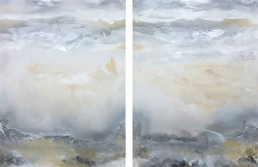 Original art for sale at UGallery.com | Oneness (Diptych I) by Michele Morata | $1,100 | oil painting | 24' h x 36' w | ..\art\oil-painting-Oneness-Diptych-I