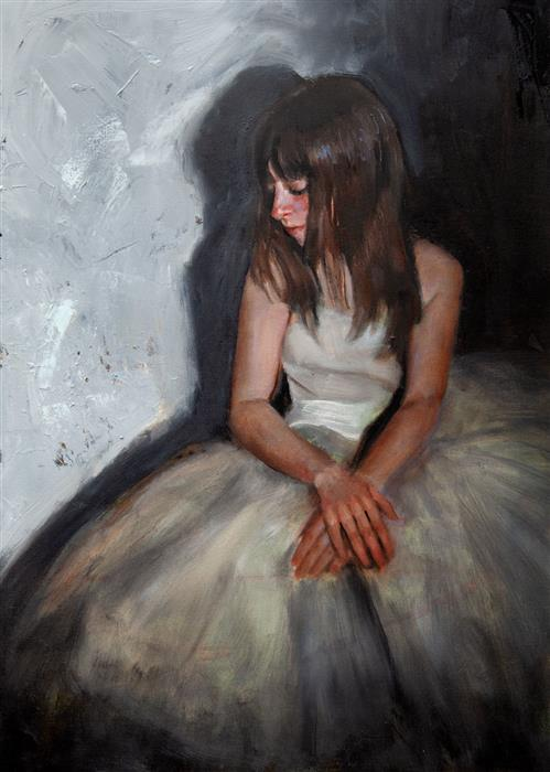 Original art for sale at UGallery.com | Clemence Seated by John Kelly | $2,300 | oil painting | 21.5' h x 15' w | ..\art\oil-painting-Clemence-Seated