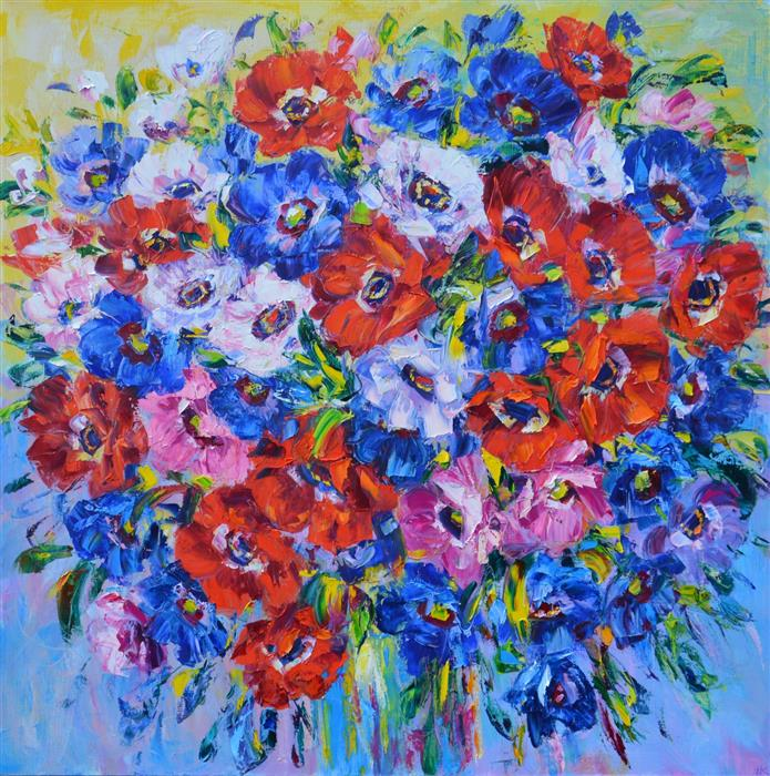 Original art for sale at UGallery.com | Anemones by Iryna Kastsova | $2,450 | oil painting | 39' h x 39' w | ..\art\oil-painting-Anemones
