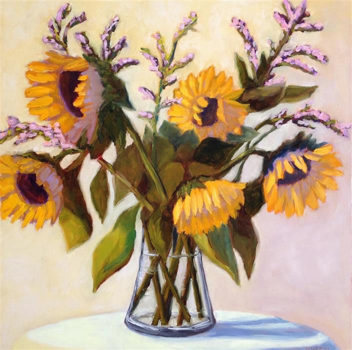 Original art for sale at UGallery.com | Sunflowers in Glass Vase by Pat Doherty | $975 | oil painting | 18' h x 18' w | ..\art\oil-painting-Sunflowers-in-Glass-Vase
