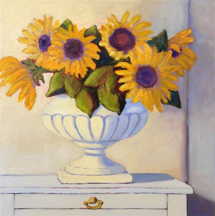 Original art for sale at UGallery.com | Arrangement of Sunflowers by Pat Doherty | $1,200 | oil painting | 18' h x 18' w | ..\art\oil-painting-Arrangement-of-Sunflowers