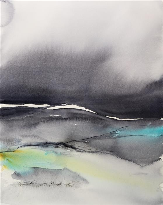 Original art for sale at UGallery.com | Abstract Landscape X by Yuriy Kraft | $800 | watercolor painting | 20' h x 16.1' w | ..\art\watercolor-painting-Abstract-Landscape-X