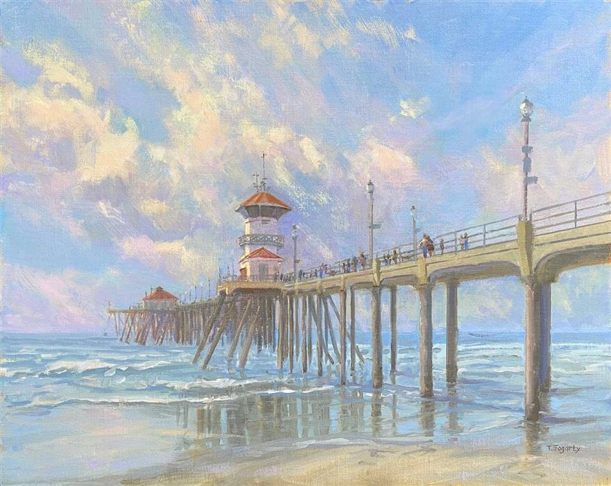 Original art for sale at UGallery.com | Pier Stroll by Tatyana Fogarty | $1,600 | oil painting | 16' h x 20' w | ..\art\oil-painting-Pier-Stroll