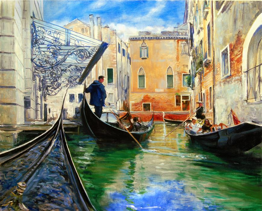 Original art for sale at UGallery.com | Passing Gondolas by Onelio Marrero | $1,625 | oil painting | 24' h x 30' w | ..\art\oil-painting-Passing-Gondolas